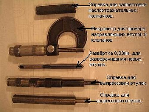 Інструменди для ремонту головки блоку циліндрів